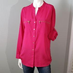 Calvin Klein zipper tab sleeve popover tunic pink